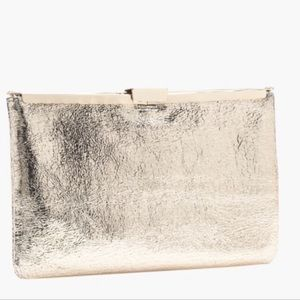 J Crew crackled gold Italian leather clutch